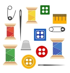 Set of tools for sewing vector