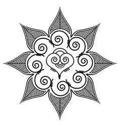 Shape with leaves and heart shape in the middle vector