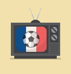 Soccer football retro television with france flag vector