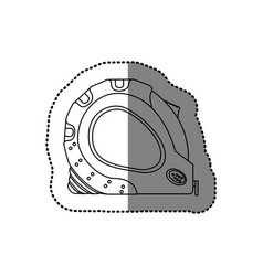 Sticker monochrome line contour of tape measure vector