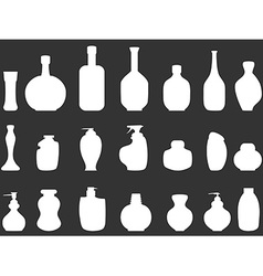 White bathroom bottles silhouettes vector