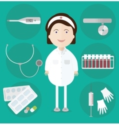 Woman doctor and assorted medicine icons vector