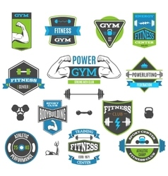 Fitness and sport labels vector