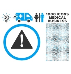Warning icon with 1000 medical business pictograms vector