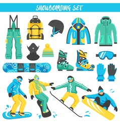 Snowboarding equipment colored set vector