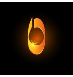 Golden arabic style letter o shiny latin alphabet vector