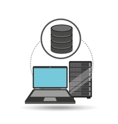 Laptop data server center icon vector