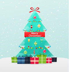 Christmas tree with gifts on a snowy background vector