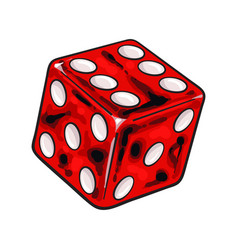 single shiny red dice isolated sketch style vector image