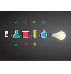 Light bulb idea with chemistry and science icon vector