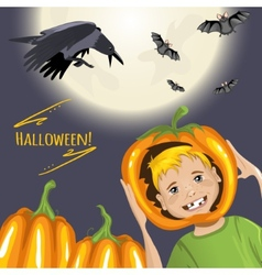 Cute card for halloween with cartoon boy pumpkins vector