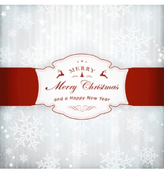 Silver christmas invitation card with red vector