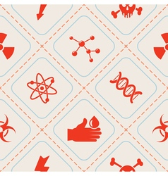 Seamless background with science icons vector