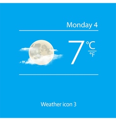 Realistic weather icon moon with clouds vector