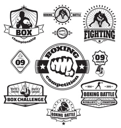 Boxing emblems set vector