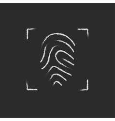 Fingerprint scanning icon drawn in chalk vector