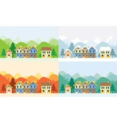 Houses in four seasons with mountain background vector