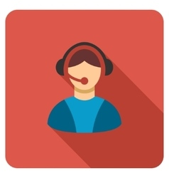 Call center operator flat rounded square icon with vector
