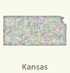 Kansas line art map vector