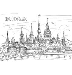 Old town and river daugava riga latvia vector