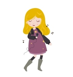 Girl singing little girl singing with microphone vector