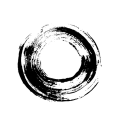 Black and white grunge circle like a brush stroke vector