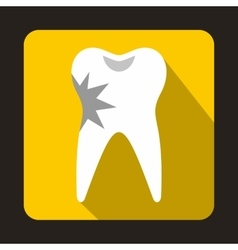 Cracked tooth icon in flat style vector