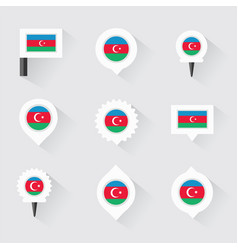 Azerbaijan flag and pins for infographic and map vector