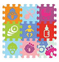 baby signs made with puzzle vector image vector image