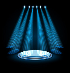 blue spotlights with white podium on dark vector image