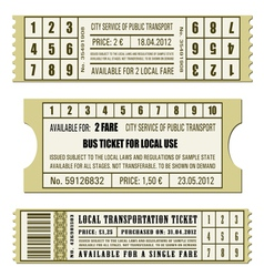 Bus ticket set vector image vector image