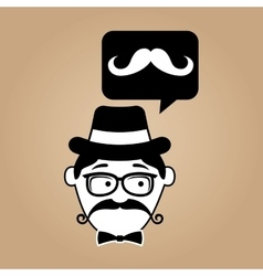 cartoon hipster mustache retro background vector image vector image