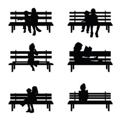 children silhouette set sitting on park benches vector image vector image