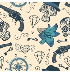 Colorful seamless pattern with guns diamonds and vector image vector image
