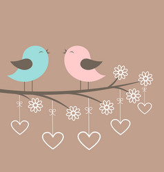 couple of cute birds sing vector image vector image