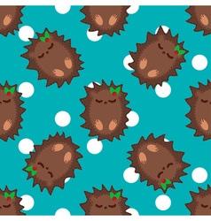 Cute cartoon hedgehog seamless pattern vector