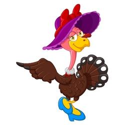 Cute turkey cartoon wearing hat vector