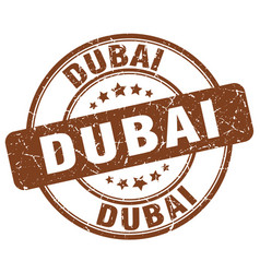 Dubai brown grunge round vintage rubber stamp vector
