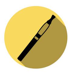 E-cigarette sign flat black icon with vector