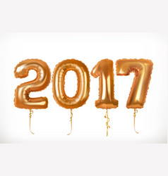 golden toy balloons happy new year 2017 3d icon vector image