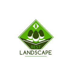 green landscape gardening company tree icon vector image vector image