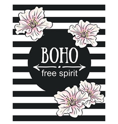 Greeting card flowers - boho free spirit hand vector