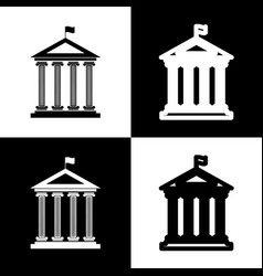 historical building with flag black and vector image