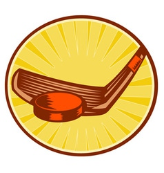 ice hockey stick hitting a puck vector image vector image
