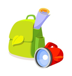 icon bag and lamp vector image