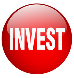 Invest red round gel isolated push button vector