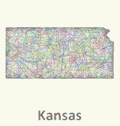 Kansas line art map vector image vector image