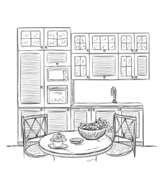 Kitchen interior sketch with dinner table vector