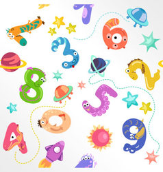 Numbers like monster seamless pattern vector image vector image