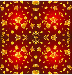 Pattern gold rose and petal float on red vector